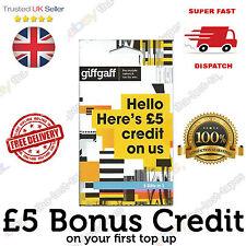 Giffgaff Micro SIM Card Nano & Standard FREE £5 Credit & Unlimited Text, Net