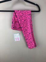 LuLaRoe BCA Kids Leggings S/M #1478 - Black Words on Pink -