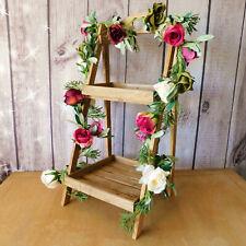 Natural 2 Shelf Folding Wooden Heart Display Stand Home Retail Wedding Christmas