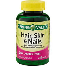 Spring Valley Hair Skin and Nails (240) Caplets Pills Collagen Support