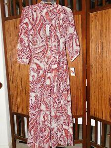 NWT Olivia Palermo x Chelsea28 Tie Neck BOHO Dual Slits Paisley Midi Dress SZ S