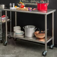 Rolling Work Bench Table Stainless Steel Cart Prep Kitchen Food Utility Garage