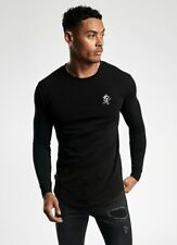 Gym King Mens New Long Sleeve Crew Neck T-Shirt Slim Fit Curved Hem Basis Black