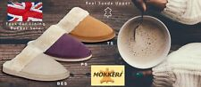Ladies Mule Slippers Real Suede Warm Faux Fur Lining Mokkers Sizes 3 to 9 UK