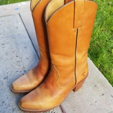 Vintage Frye Leather Cowboy Boots Riding Brown 7085 Made in USA Women's 7B