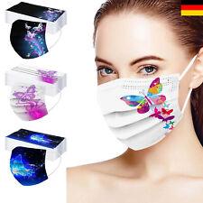 10x EMUZO Mund-Nasen-Masken Schmetterling Motiv bunt farbig 3 lagig 10 Stück