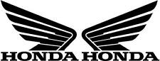 HONDA WINGS 2x 115mm Motorcycle Bike Tank Fairing Decals / Sticker ( BLACK )