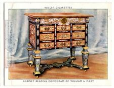 1690s William and Mary Monogramed Cabinet England Funtiture 1930s Trade Ad Card