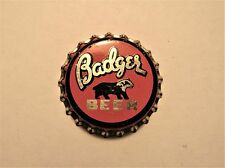 BADGER BEER 1930's cork crown bottle cap WHITEWATER BREWERY, WHITEWATER, WISCONS
