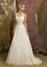Custom Make A Line Halter Chiffon Wedding Dresses Beach Bridal Gown with Buttons