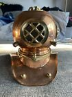 Antique Brass Diving Helmet Decor Display With Damage And Missing Parts