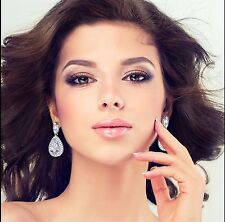 18K White Gold F Teardrop Chandelier Earrings Made With Swarovski Crystal Bridal