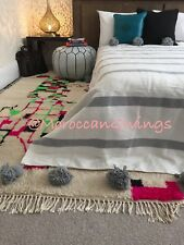 "Moroccan handwoven Pom Pom Blanket/100% natural Cotton,79""Wx118""L/ 200Wx300L."