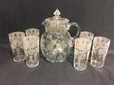 Rare 1920's Cambridge Glass Martha Grape Etched Pitcher & 6 Glasses Water Set