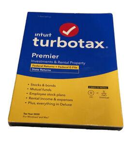 TurboTax Premier 2020 Desktop Tax Software Federal + Efile Windows & Mac Sealed