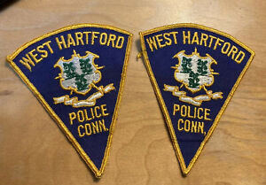 2 CT West Hartford Connecticut Police Patches