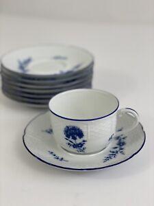 Limoges Ceralene A. Raynaud et Cie Flat bottom 8 Cups/Saucers Blue Carnation /r