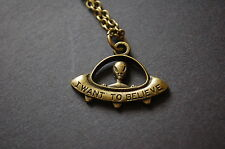 bronze i want to believe alien UFO necklace