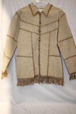 NWT DRESSBARN Beige Leather Jacket,Hand Knit Patchwork Trim & Collar Size S-B75