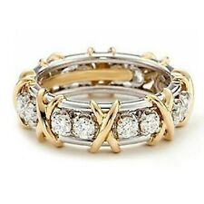 Diamond Eternity Band Right Hand Ring 14K Yellow Gold Over Sterling Silver Round