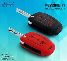 Combo! Silicone Key Cover fit for New i20, Verna, Xcent Flip Key (Black+Red)