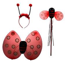 3pcs Kid Girls Ladybug Set Wing Wand Headband Costume Dress-up for Party