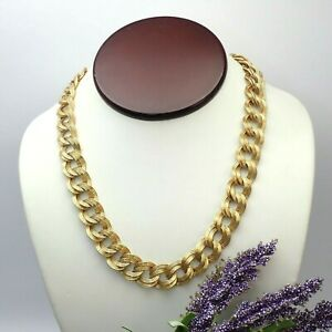 """Vintage Monet Ribbed Double Link Gold Tone 19.75"""" Chain Necklace"""