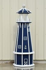 5' Octagon(8 sided)Electric and Solar Powered Polywood Lighthouse,Patriot Blue