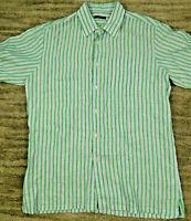 Neiman Marcus Men's Short Sleeve Linen Striped Shirt Green Blue sz XL