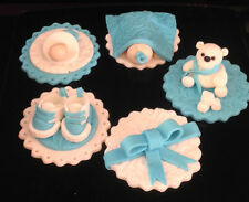 6 Edible Fondant Baby Shower Birthday Christening Cup Cake Toppers Shoes Baby