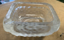 "VINTAGE ART VANNES FRANCE HEAVY SQUARE CRYSTAL ASHTRAY/PIPE 4.5"" x 3.75"" frosted"