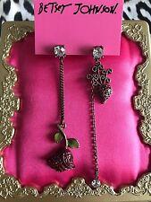 Betsey Johnson Vintage Radish Vegetable Garden Red Rose Mismatch Bronze Earrings