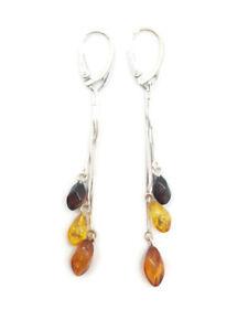 "Natural Baltic Amber Women Multi-Color Earrings ""Barrels"" Sterling Silver 925"