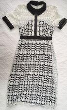 Liza Luxe White/Black Crochet Lace Dress Vintage Retro Rockabilly Look Small (4)