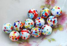 Vintage Millefiori, Beads Glass Mosaic Czech Specks Confetti Rare 10mm #893