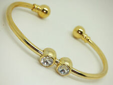 Small Womens Gold Colour Magnetic Bangle With Twin Stones Gift Pouch Arthritis