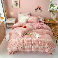 Pink Plaid Bedding Set 100%cotton Bed Duvet Cover Bed Fitted Sheet Bed Sets 4pcs