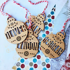 DETAILED NAME PERSONALISED BAMBOO CHRISTMAS ORNAMENTS