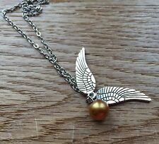 Harry Potter Bronzed Silver Golden Snitch Quidditch Pendant Angel Wings Necklace