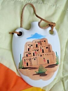 "NEW! Native American Design - 5 1/4"" x 4"" Ceramic Canteen Ornament- Pottery"