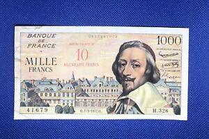 Rare Billet Avec SURCHARGE 10 Nouveaux Francs sur 1000 Francs Richelieu 7-3-1957