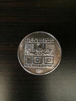 1976 Austria 100 Schilling Silver Coin Winter Olympics - Innsbruck Skier
