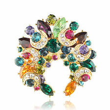14k Gold GF colourful crystals classy brooch pin with Swarovski elements