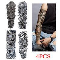 4PCS Men Women Fake Full Arm Sleeve Body Art Large Tattoo Stickers Temporary UK