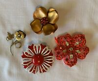Lot Of 4 Vtg Brooches/Pins: Flowers, Crystals Enamel Orange Costume Jewelry