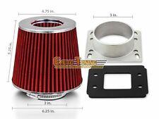 Mass Air Flow Sensor Intake Adapter + RED Filter For 88-92 Golf / Jetta 1.8L L4