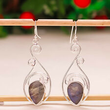"92.5 STERLING SILVER BLUE FIRE LABRADORITE GEMSTONE PEAR CUT EARRING 2"" PD-387"