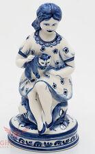 Gzhel Porcelain Girl holding Cat Figurine handmade & painted  souvenir