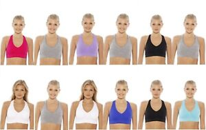 4 Pack Wire Free Racerback Seamless Comfy Sports Bra Yoga Activewear Plus Size