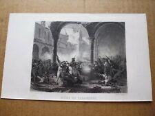 Gravure 19° guerre Napoléonienne:Siège de Saragosse par: KARL GIRARDET